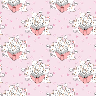 Gatos kawaii sem costura estão amando um padrão de livro