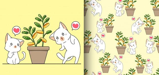 Gatos kawaii sem costura padrão e árvore do dinheiro em um vaso
