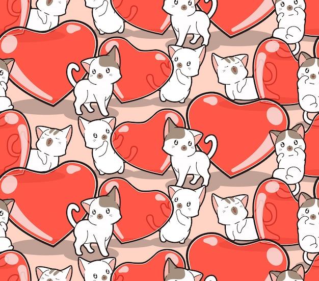 Gatos kawaii sem costura padrão e corações de geléia para dia dos namorados
