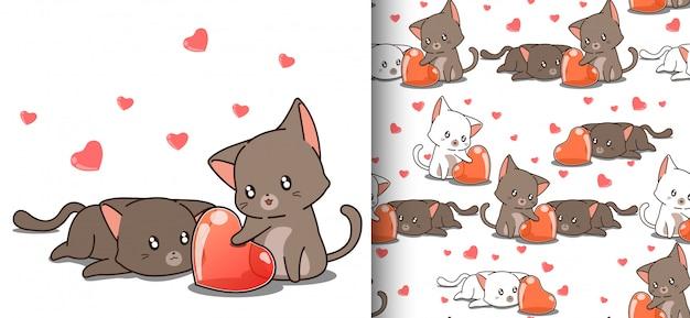 Gatos kawaii sem costura padrão está olhando o coração