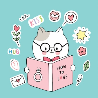 Gatos lendo livro doodle