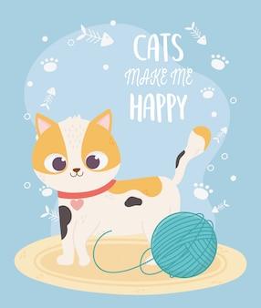Gatos me fazem feliz, fofo gato malhado com lã de bola