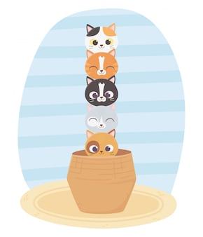 Gatos me fazem feliz, gatos bonitos animais de estimação na cesta
