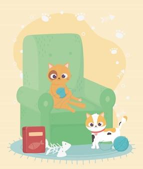 Gatos me fazem feliz, gatos fofos no sofá com bolas de lã e comida
