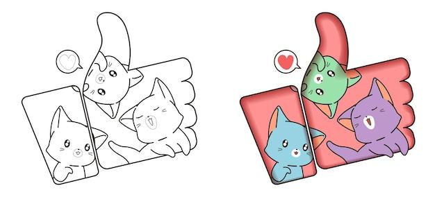 Gatos no ícone dos desenhos animados do polegar para cima para colorir para crianças