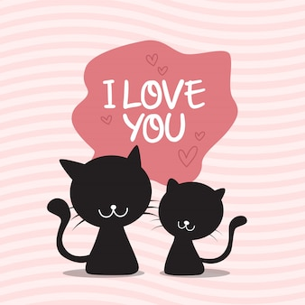 Gatos, par, valentine's, dia, fundo