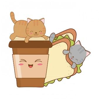 Gatos pequenos bonitos com caracteres kawaii sanduíche