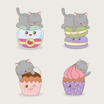 Gatos pequenos bonitos com emoticons personagens kawaii