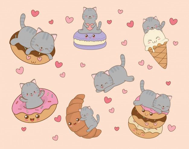 Gatos pequenos bonitos com emoticons personagens kawaii