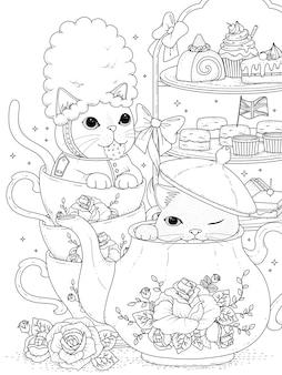 Gatos pretos e brancos tomando chá da tarde britânico, para colorir