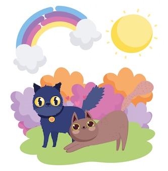 Gatos pretos e marrons dos desenhos animados em animais de céu de grama
