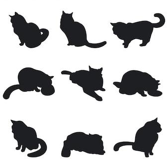 Gatos pretos silhueta animal de estimação conjunto isolado no fundo branco.