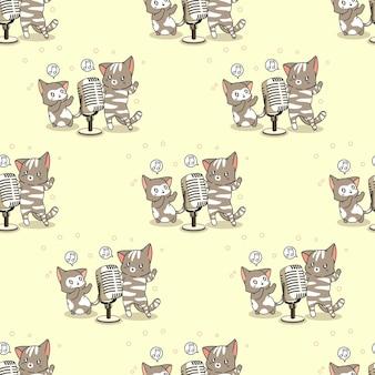 Gatos sem costura cantando padrões