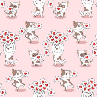 Gatos sem costura com padrão de ícones de coração