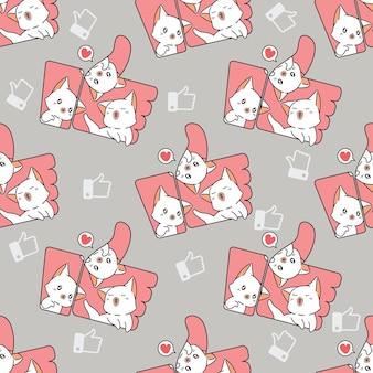 Gatos sem costura dentro do padrão de ícone de gostei