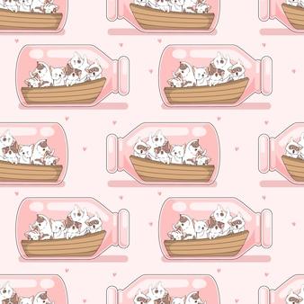 Gatos sem costura e barco em padrão de garrafa