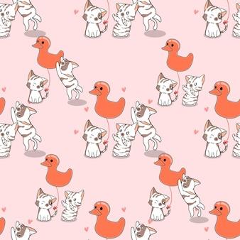 Gatos sem costura e padrão de balão de pato