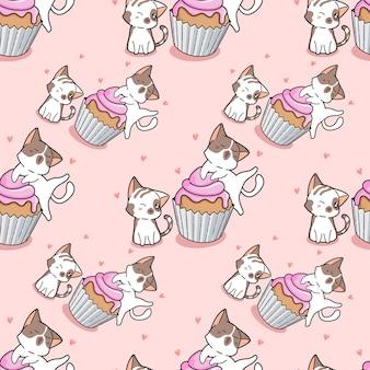 Gatos sem costura e padrão de cup cake
