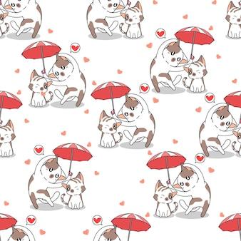 Gatos sem costura em padrão de guarda-chuva