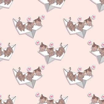 Gatos sem costura no padrão de avião de papel