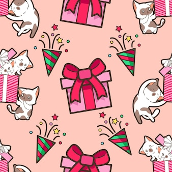 Gatos sem costura no padrão de festa de natal
