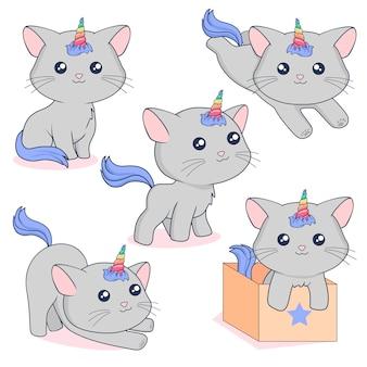 Gatos unicórnio cinzento