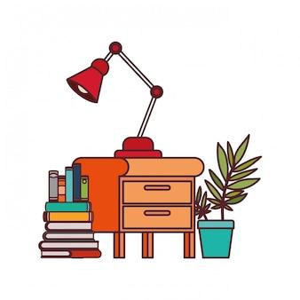 Gaveta de madeira com pilha de livros