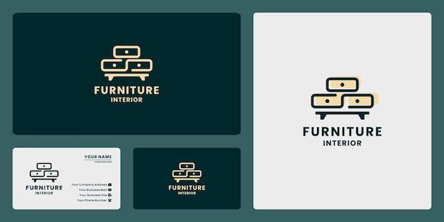 Gaveta de móveis logo design vector linha de arte estilo para casa interior propriedade