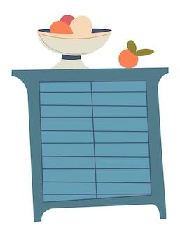 Gavetas para tigela de cozinha com frutas e vegetais