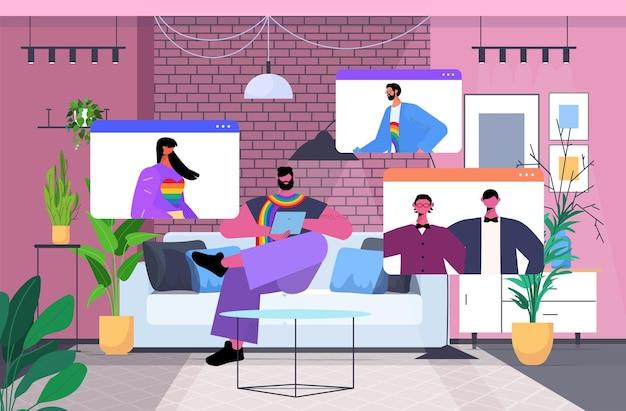 Gays e lésbicas discutindo durante a videochamada, os transgêneros amam o conceito de comunidade lgbt comunicação online
