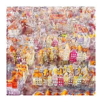Gdansk polônia esboço em aquarela ilustração desenhada à mão
