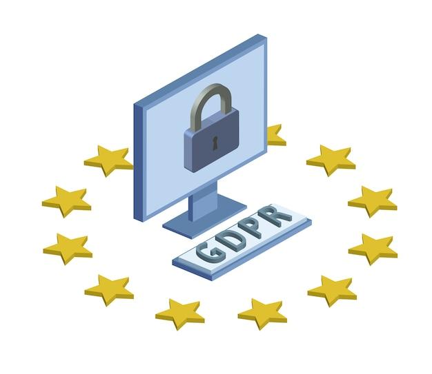 Gdpr, ilustração isométrica do conceito. regulamento geral de proteção de dados. proteção de dados pessoais. monitor e bloqueio do computador. emblema, isolado no fundo branco.