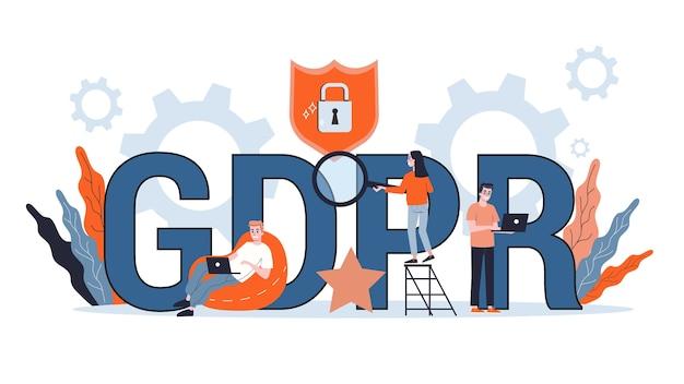 Gdpr ou conceito geral de regulamentação de proteção de dados. ideia de segurança da informação informática. ilustração