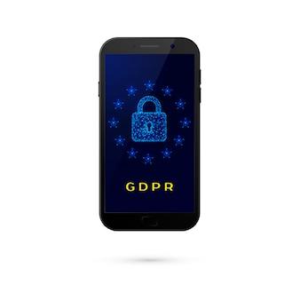 Gdpr - segurança geral de proteção de dados. telefone com cadeado e estrelas na tela em fundo branco. ilustração