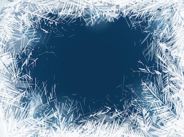 Geada. vidro de janela congelado em clima frio, decoração de feriados de natal. ornamento de cristais de água transparentes em fundo azul, textura de vetor de quadro de neve de gelo abstrato de ano novo