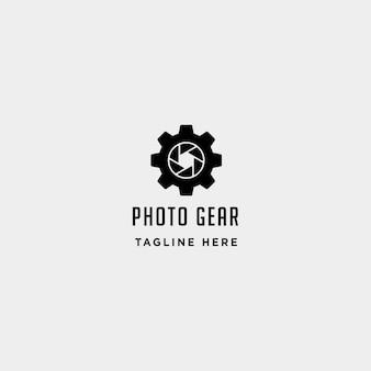 Gear photo logo vector fotografia indústria linha simples ícone sinal símbolo ilustração isolada