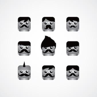 Geek guy avatar portrait set tema - ilustração de arte em vetor