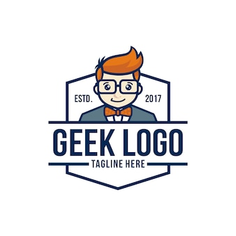 Geek logo design template vector