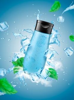 Gel de banho refrescante para homens com salpicos de cubos de gelo e folhas de hortelã no fundo azul na ilustração 3d, garrafa em branco para design