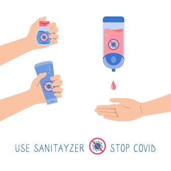 Gel desinfetante de mão, garrafa, conjunto de desenho animado pare o vírus covid, as pessoas usam anti-séptico de álcool automático