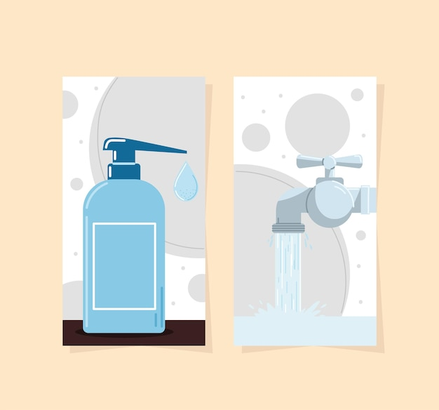 Gel desinfetante e água