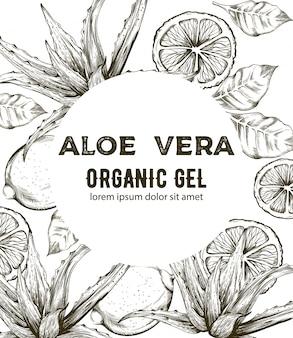 Gel orgânico aloe vera com estilo de arte de linha