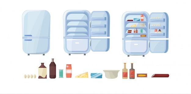 Geladeira cheia de comida. conjunto de geladeira vazia e fechada.