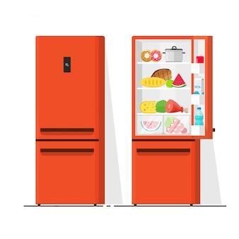 Geladeira cheia de desenhos animados plana de ilustração vetorial de comida