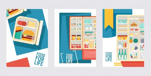 Geladeira cheia de produtos conjunto de cartões pôsteres refrigerador aberto com frutas e legumes