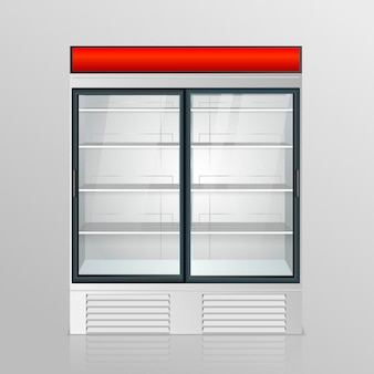 Geladeira com vidro transparente isolada. vitrine da geladeira em fundo branco. vetor