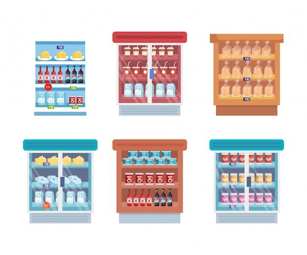 Geladeira de supermercado com prateleira e produtos