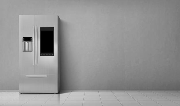Geladeira inteligente vista frontal da geladeira com duas câmaras