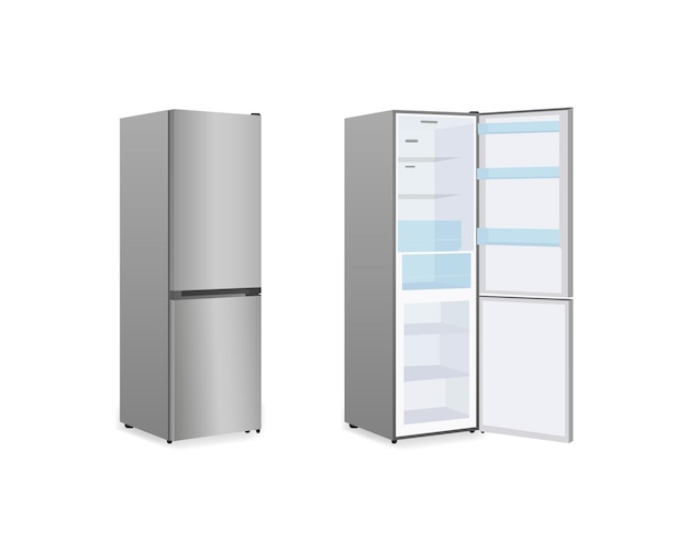 Geladeira realista ou geladeira em fundo branco isolado. ilustração vetorial eps10