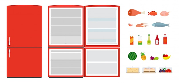 Geladeiras planas vermelhas. feche e abra a geladeira vazia. ícones de comida